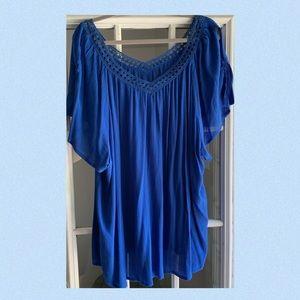 3x Flirty Blue Flutter Sleeve Crochet Top